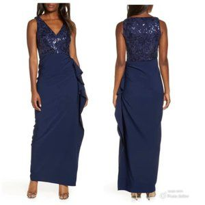 NWT Vince Camuto Sequin Bodice Crepe Gown Size 14